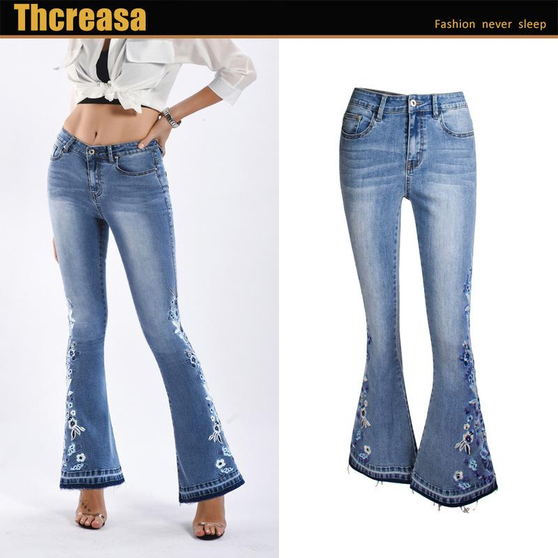 New women s hot style embroidered cowboy panty broad feet washed flared jeans bigger sizes of pants