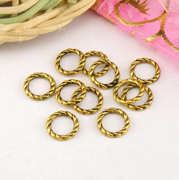 100шт Тибетское серебро, старинное золото, бронза твист кольцо ссылки разъемы бусины подходят Европейский браслет мужчины женщины ювелирные аксессуары 8 мм