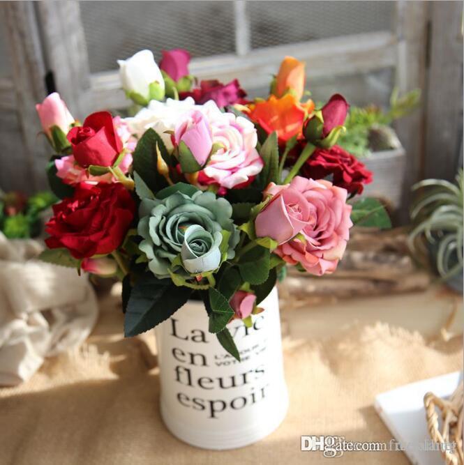 Rosa de la boda de flores recoger 9 c ramos de novia de flores artificiales para la corona de fiesta de la boda collar de flores de seda decorativo 2019