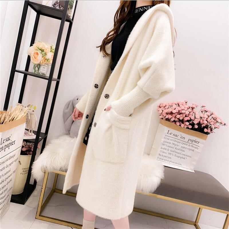 Imitation Mink Cashmere Coat Women Cardigan Knit 2019 Autumn Thick Loose Sweater Coat Hooded Casual Sweater Female Y191128