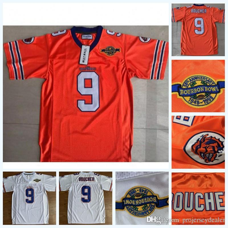 9 Bobby Bucher 남성용 Adam Sandler Bobby Boucher 영화 Bourbon Bowl 패치가있는 Waterboy 진흙 개 축구 유니폼 재고 있음