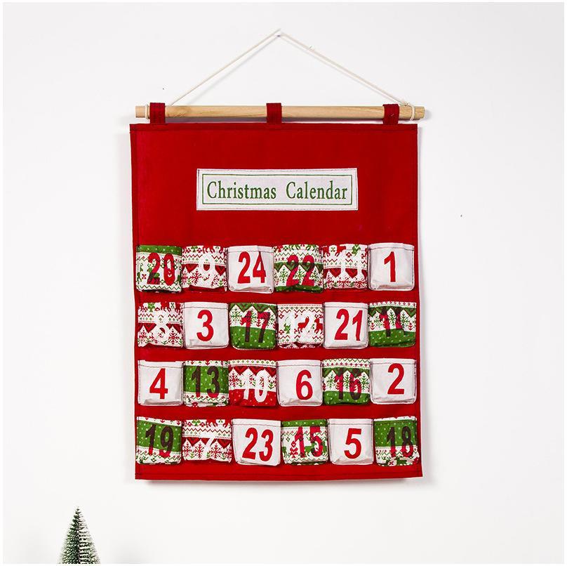 Red Christmas Advent Calendar Wall Hanging Xmas Ornament Impressão Saco dos doces Count Down admissão sacos do presente Decoração DBC VT1019