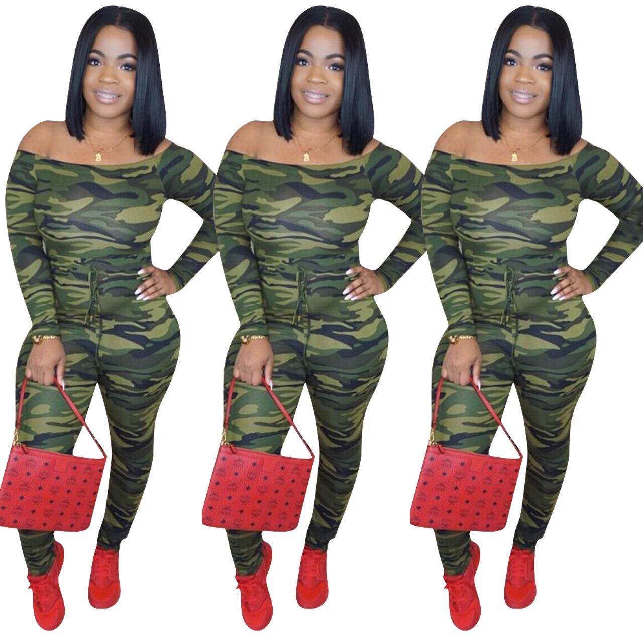 Camouflage Imprimer Maigre Sexy Partie Barboteuse Slash Cou Dos Nu Pleines Manche Femmes Combinaison Avant Lace Up Mode Body
