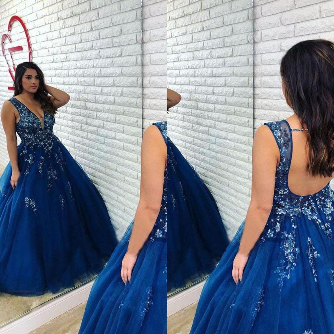 Nueva elegante una línea de vestidos de baile vestidos de bola con cuello en V de encaje apliques de tul vestidos de noche formales por encargo barata