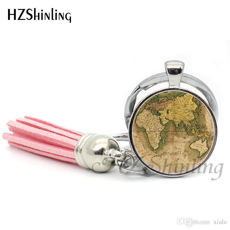 2019 Fashion Old World Map Keyring Color Map Tassel Key Chain Art Photo Cabochon Keychain Silver Glass Jewelry Gifts For Women TAK--02