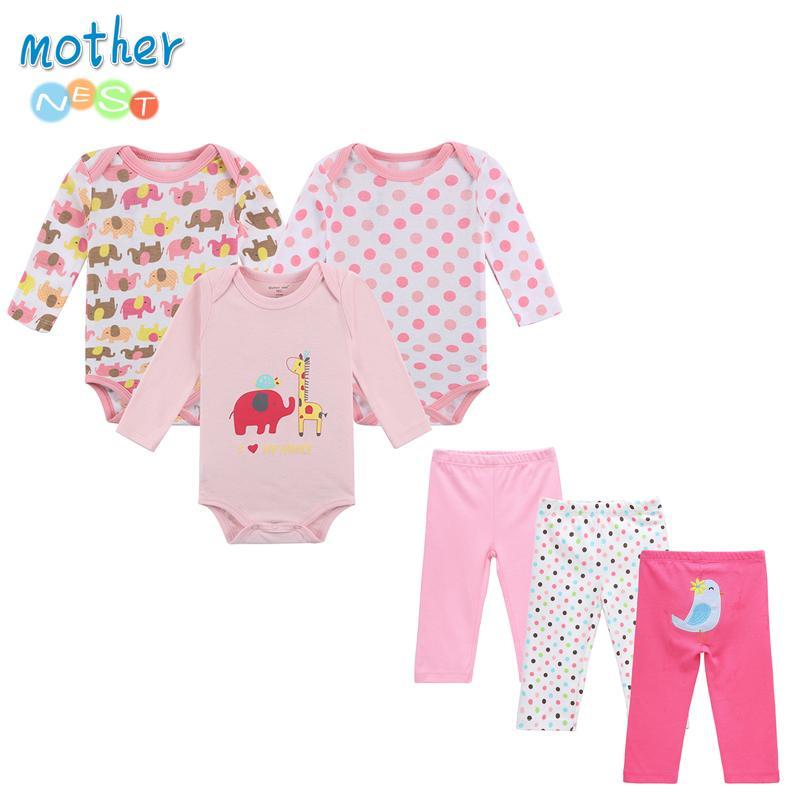 6 ADET / Lot Anne Nest Boy Giyim Yenidoğan Bebek Bebek 0-12 Sonbahar / İlkbahar tulum + Pantolon Bebek Giyim Y200323 ayarlar