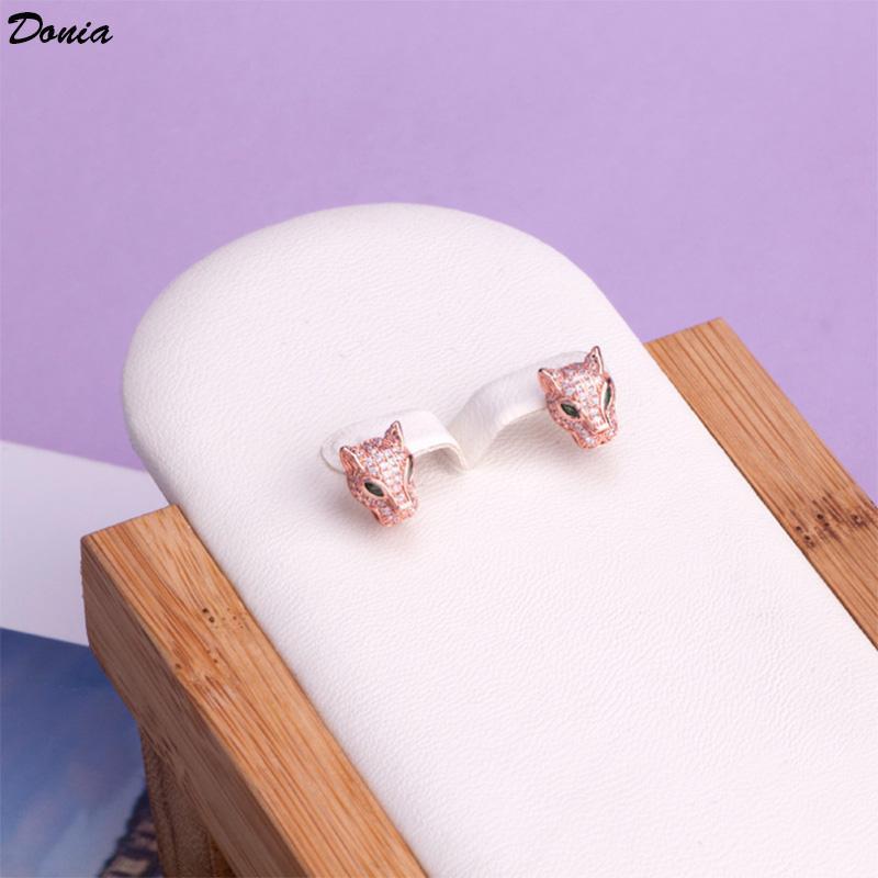 Donia 보석 뜨거운 귀걸이 패션 녹색 눈 표범 손 남성 및 WO 유럽과 미국의 크리 에이 티브 실버 바늘 귀걸이 지르콘 상감