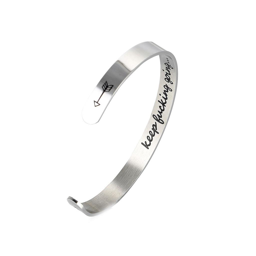 2pcs Personalized Cuff Bracelet Letter Engraved Bangle Gifts Keep Bucking Going