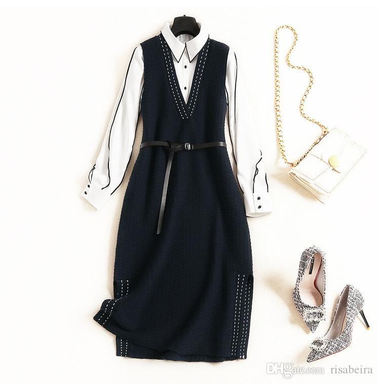 2020 Весна Роскошная Мода Контрастный Цвет С Длинным Рукавом Отворотом Шеи Блузка + Вязаный Рукавов С Поясом Миди Платье 2 Шт. Комплект A166701