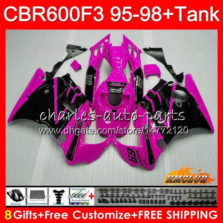 Kit+Tank For HONDA CBR600RR CBR 600 FS 1995 1996 1997 1998 41NO.222 CBR600F3 CBR 600F3 pink blk hot CBR600FS CBR600 F3 95 96 97 98 Fairings
