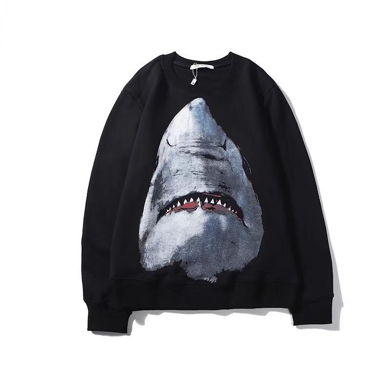 Automne Hiver 2019 Nouveau Styliste à capuche blanc Lettre noire en vrac Sweats à capuche Manteau de modèle Shark Casual Luxury Sweat-shirt Taille Plus M-3XL