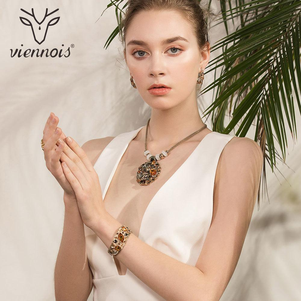 Viennois Coffee Gold Color Colorful Crystals Pendants Necklace Earring Ring Bracelet Jewelry Sets For Women Luxury Party Jewelry J 190513