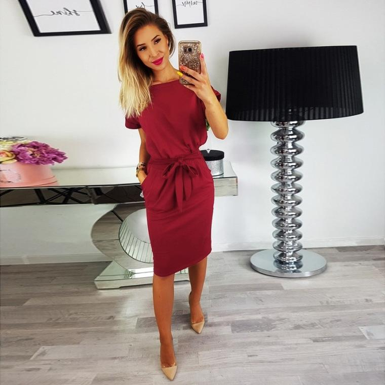 Women Solid Color Pocket Dress Fashion Lace Round Neck Female Skirt Casual Ladies Dress for Working Holiday Shopping