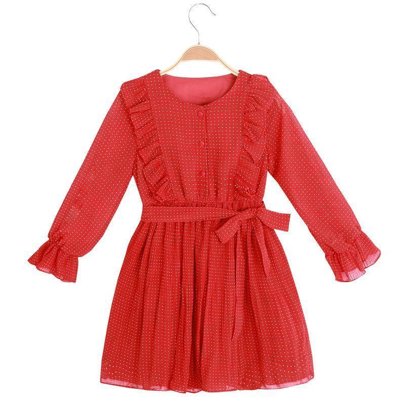 vestidos das meninas bolinhas ocasional tendência roupas de mangas compridas chiffon vincadas crianças roupas cinto dot infantis
