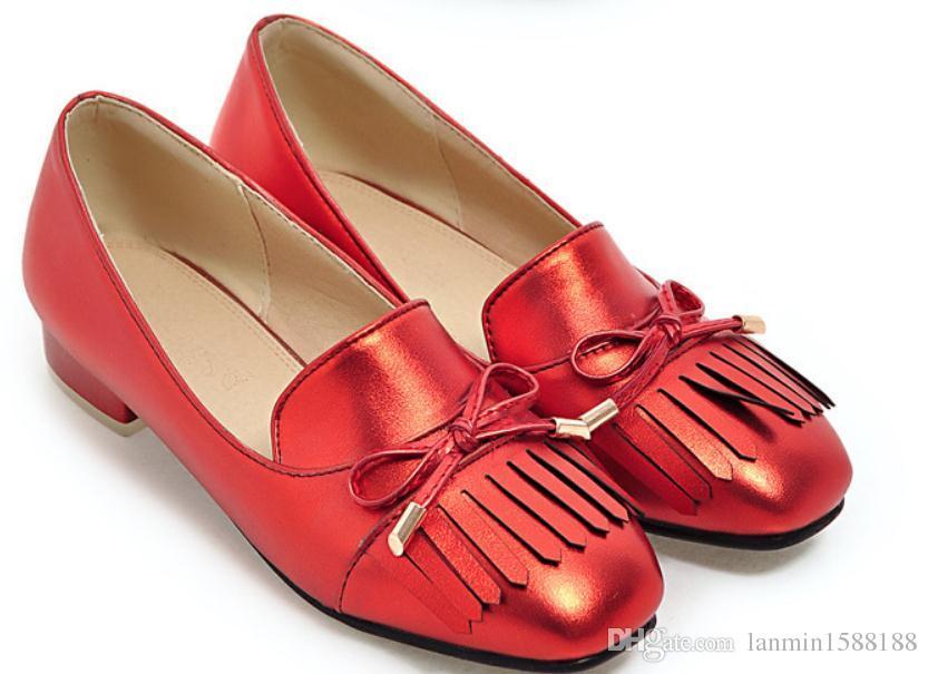 2019 Scarpe da donna in primavera e autunno con nuovo stile Tacco basso Testa quadrata 75