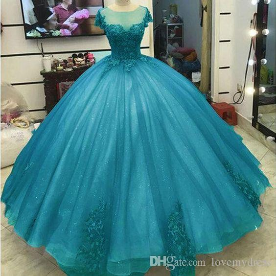 아쿠아 블루 레이스 얇은 명주 그물 달콤한 16 드레스 소매 가운과 댄스 파티 Appique Quinceanera Dresses 2019 여자 파티 정장 가운