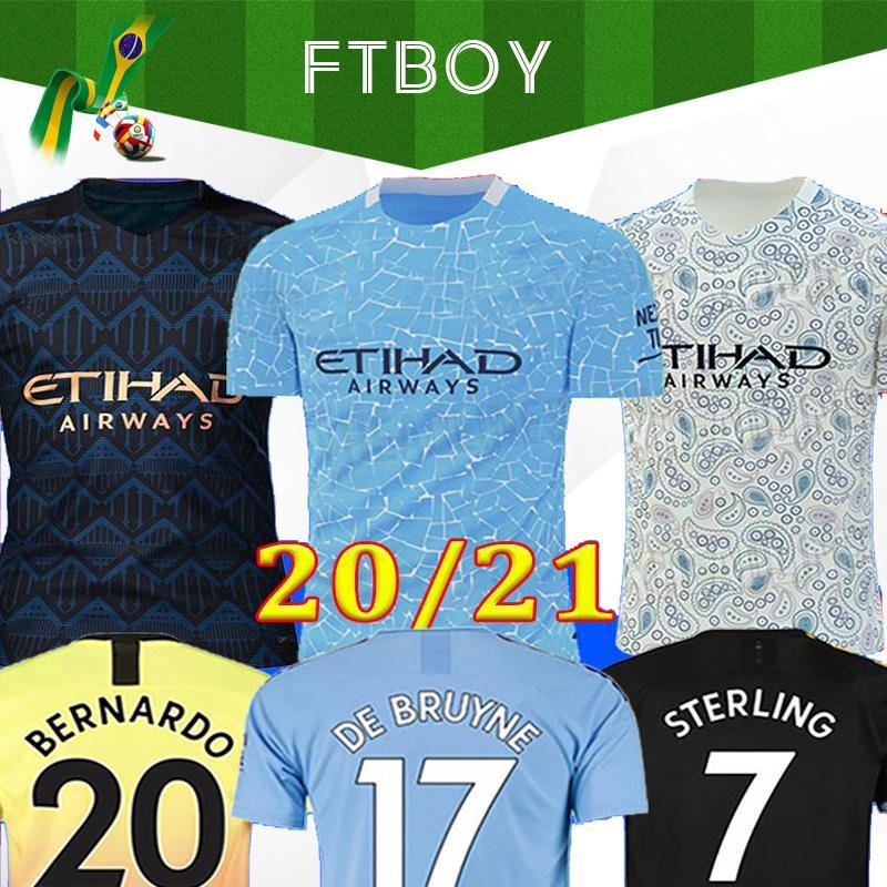 2020 لكرة القدم جيرسي سيتي 20 21 MAHREZ G. JESUS DE BRUYNE KUN AGUERO قميص كرة القدم MENDY MAN عدة الرجال زي مانشستر مايوه اطفال