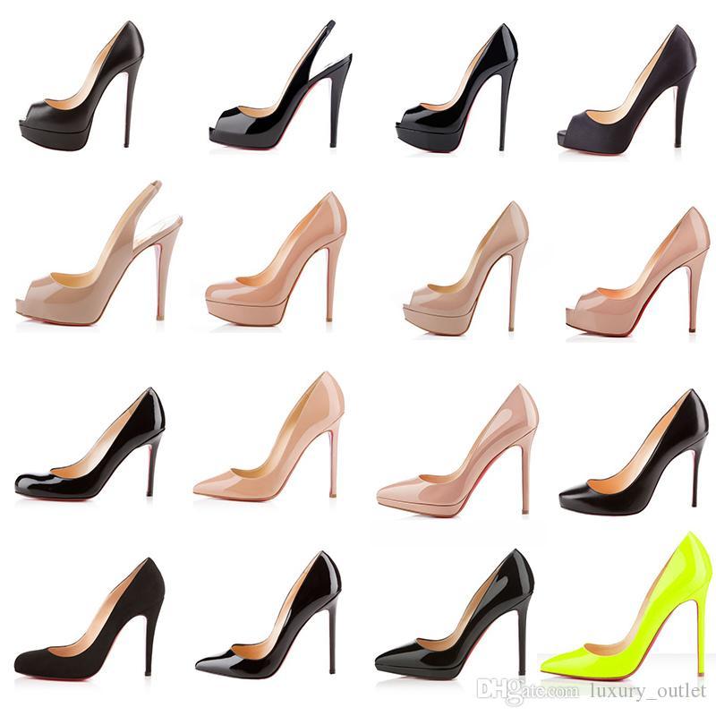 роскошный дизайнер красное дно высокие каблуки женская мода днища платформа клинья сандалии насос платье обувь черный обнаженный острым носом лакированная кожа