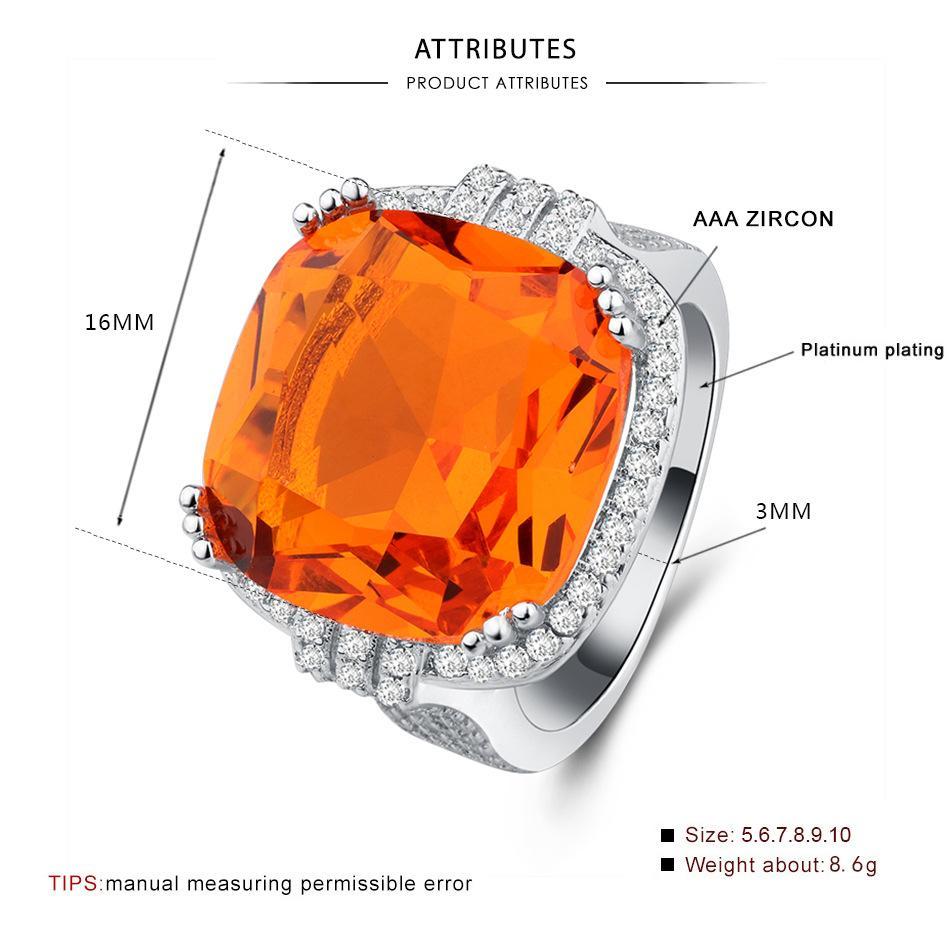 Anello di zircone arancione esagerato di lusso di vendita calda per le donne geometriche del partito dell'anello della pietra quadrata di modo delle donne taglia degli Stati Uniti dimensione 6-10 anillos