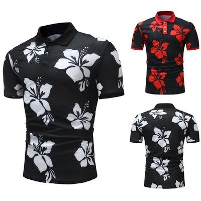 A camisa dos homens de Verão Europeia Nova Moda Casual camisa dos homens tamanho impresso lapela manga curta T-Shir P009