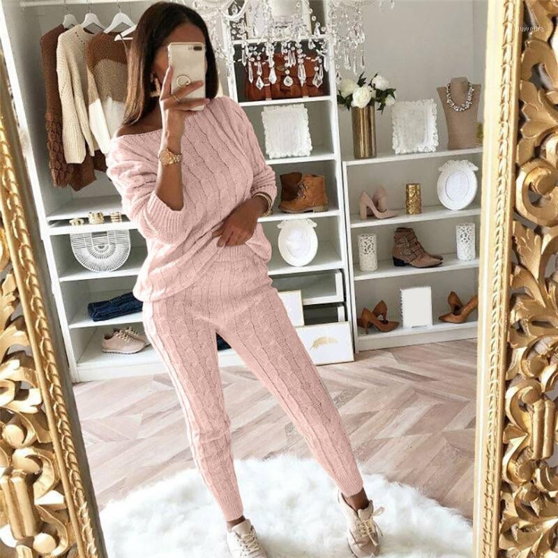 Casual solides Femmes Costumes Pantalons Mesdames Encolure câble Tricoté chaud 2PC Costume Set Femme Loungewear Costume 2019 Haut Qualité1