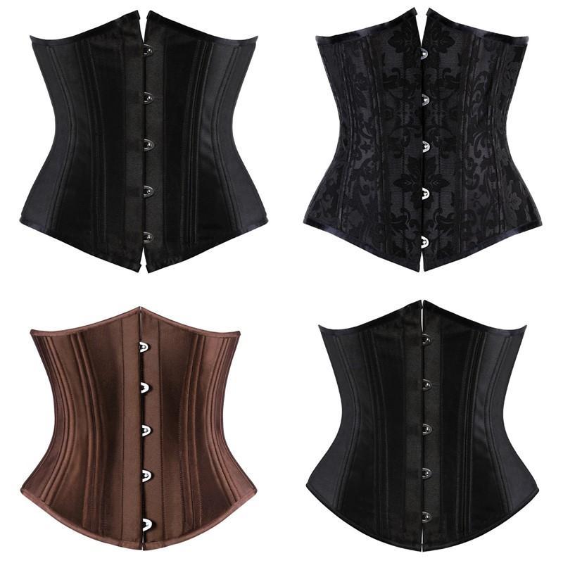 Kadınlar Siyah Korse Üst 12 adet Çelik Kemikli Saten Underbust Yastıklı Dantel-up Bodysapers Bel Tren Korse Ince Vücut Shaperwear Artı Boyutu XS-6XL