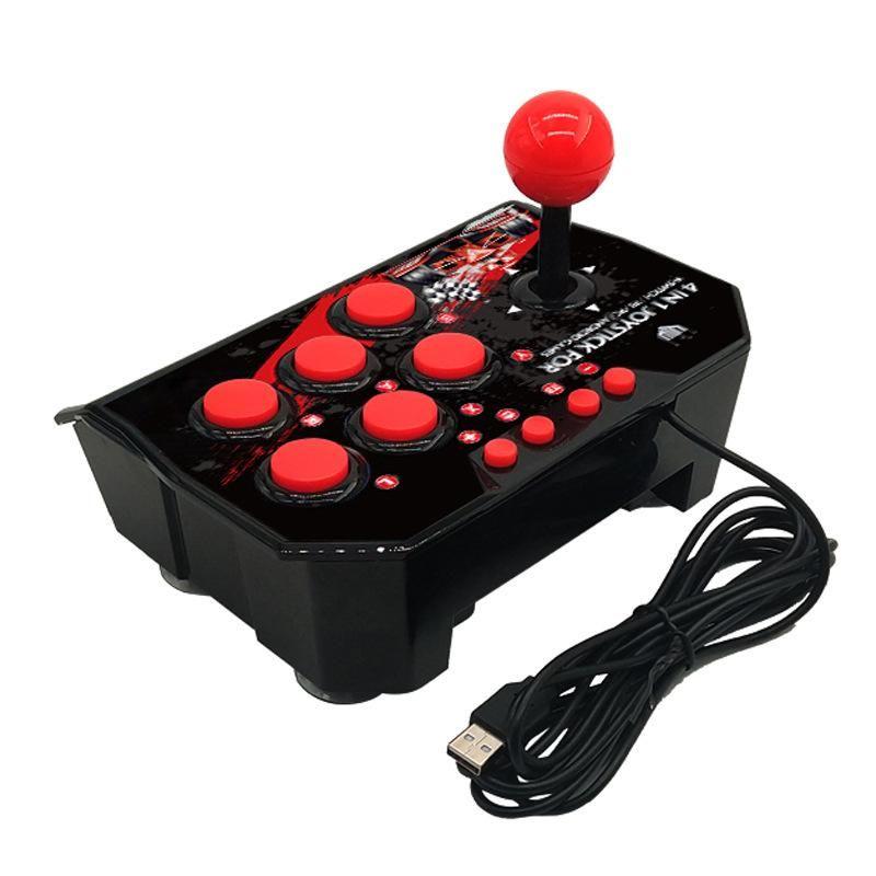 4 in 1 USB-Rocker Game Controller Arcade Joystick Gamepad Straße Fighting Stick für PS3 / PC für Switch NS für Android-Stecker