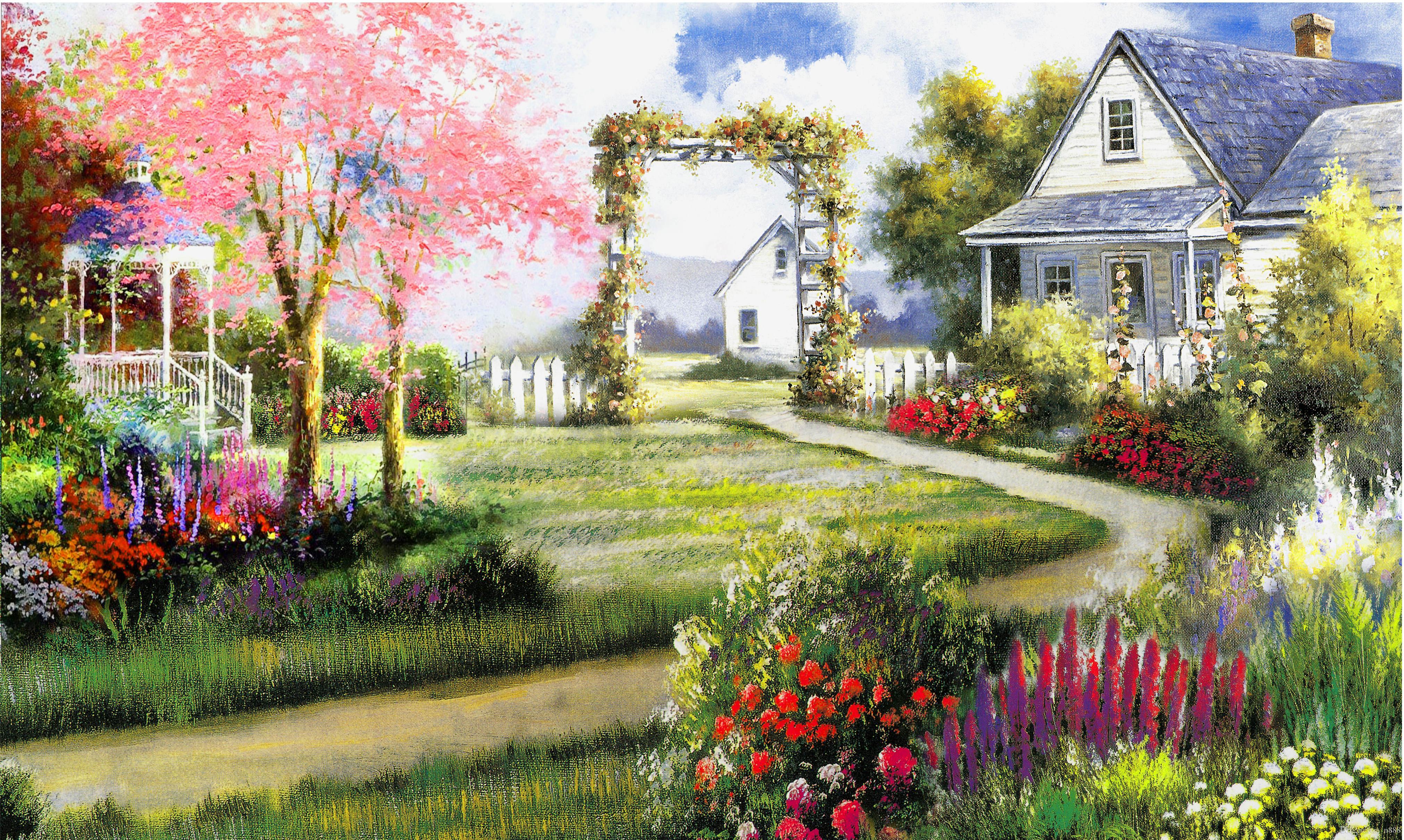 Thomas Kincaid 1-42 resorte hermoso de la decoración del hogar pintado a mano de la impresión de HD pintura al óleo sobre lienzo arte de la pared de la lona representa 191115