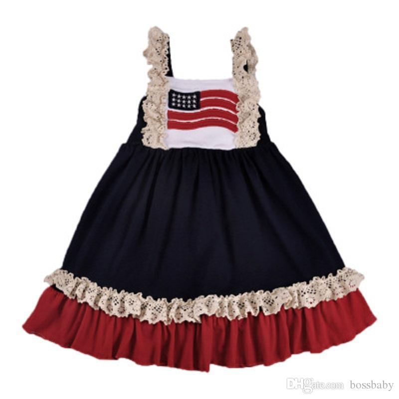어린이 별 스트라이프 드레스 아기 소녀 슬링 프린세스 드레스 미국 국기 독립 기념일 미국 4 월 7 월 수 놓은 조끼 치마