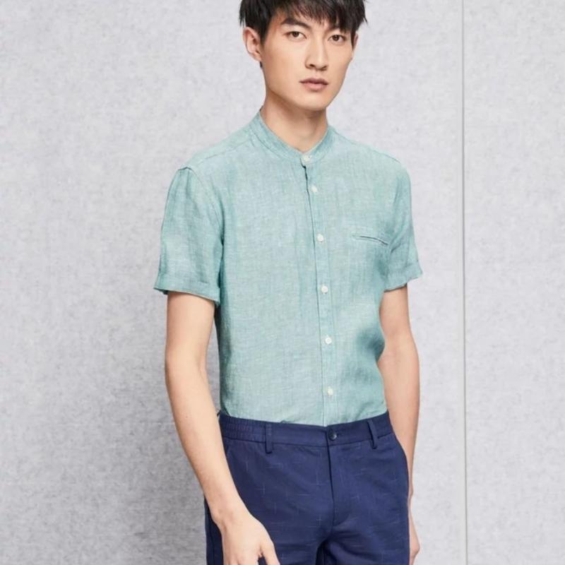 Keten Kısa Kollu Erkek Günlük Gömlek Tek Breasted Yeşil Rahat Nefes erkek Summerwear Boyut 38-42 Ücretsiz Kargo Tops