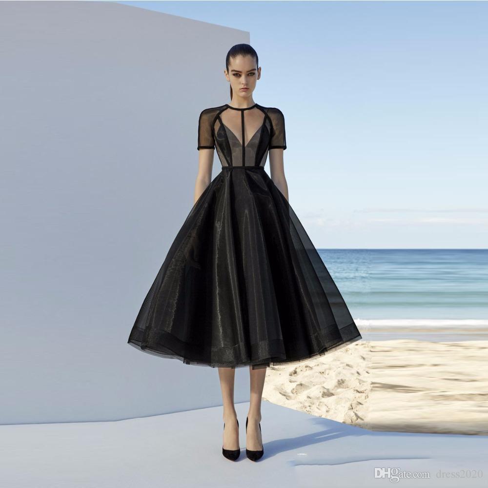 Черный Вечерние платья линии короткими рукавами чай Длина Тюль Кафтан платье Формальная исламская Дубай Саудовская Arabic Длинные вечера