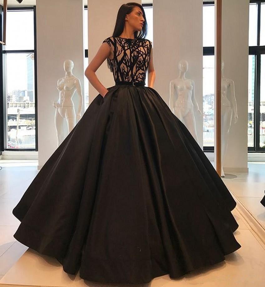 Compre Vestido De Fiesta Negro Simple Vestidos De Quinceañera Gorro Mangas Cuello De Joya Vestidos De Fiesta De Noche Formales Vestidos De 15 Años