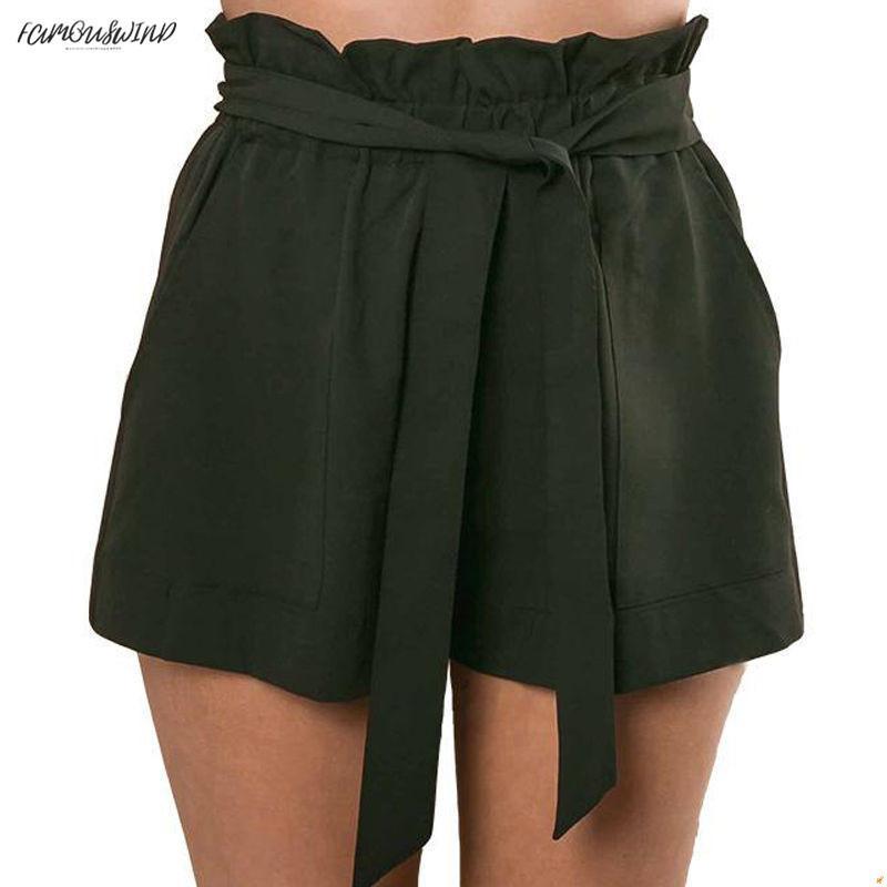 Moda Donna Calda Pantaloncini Sexy Pantaloni elastici in vita Pantaloncini casual Vita alta Pantaloncini corti da spiaggia Estate