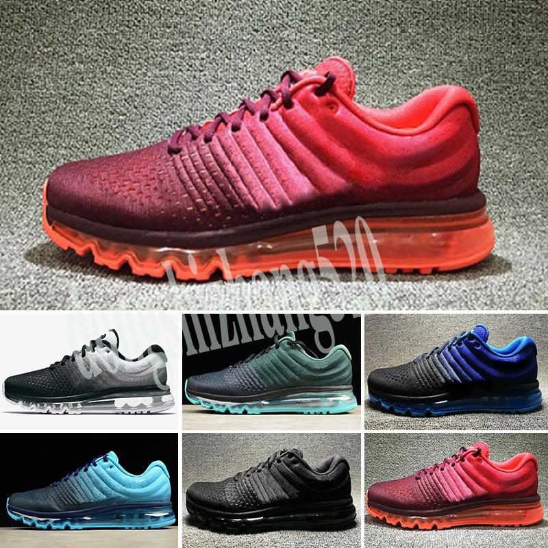 Nike Air Max 2017 de aire nuevo unisex para hombres o mujeres 2016 Deportes zapatillas de deporte de alta calidad Negro Blanco Rojo Verde de Estados Unidos size5.5-11 D52