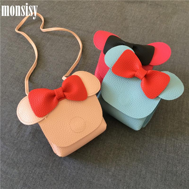 Monsisy Girl 코인 지갑 어린이 지갑 키즈 작은 변경 지갑 돈 가방 유아 동전 상자 파우치 마우스 헤드 보우 베이비 미니 핸드백