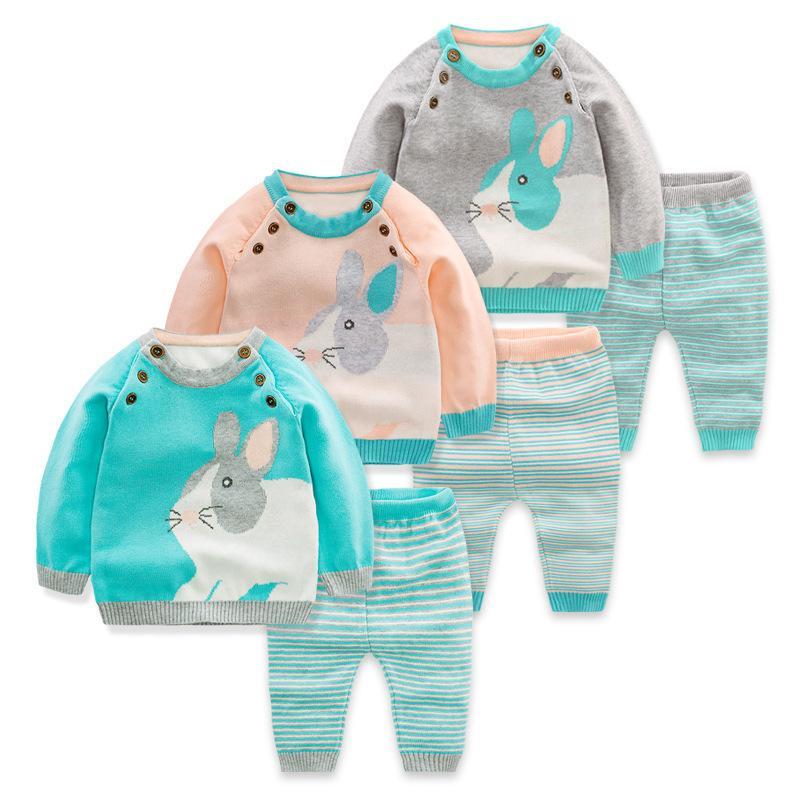 Baby Sets 2018 Spring Wool Knit Cartoon Pattern Boy Set Sweater +pants 2 Pcs Toddler Girls Infant Suit Children Clothes J190427