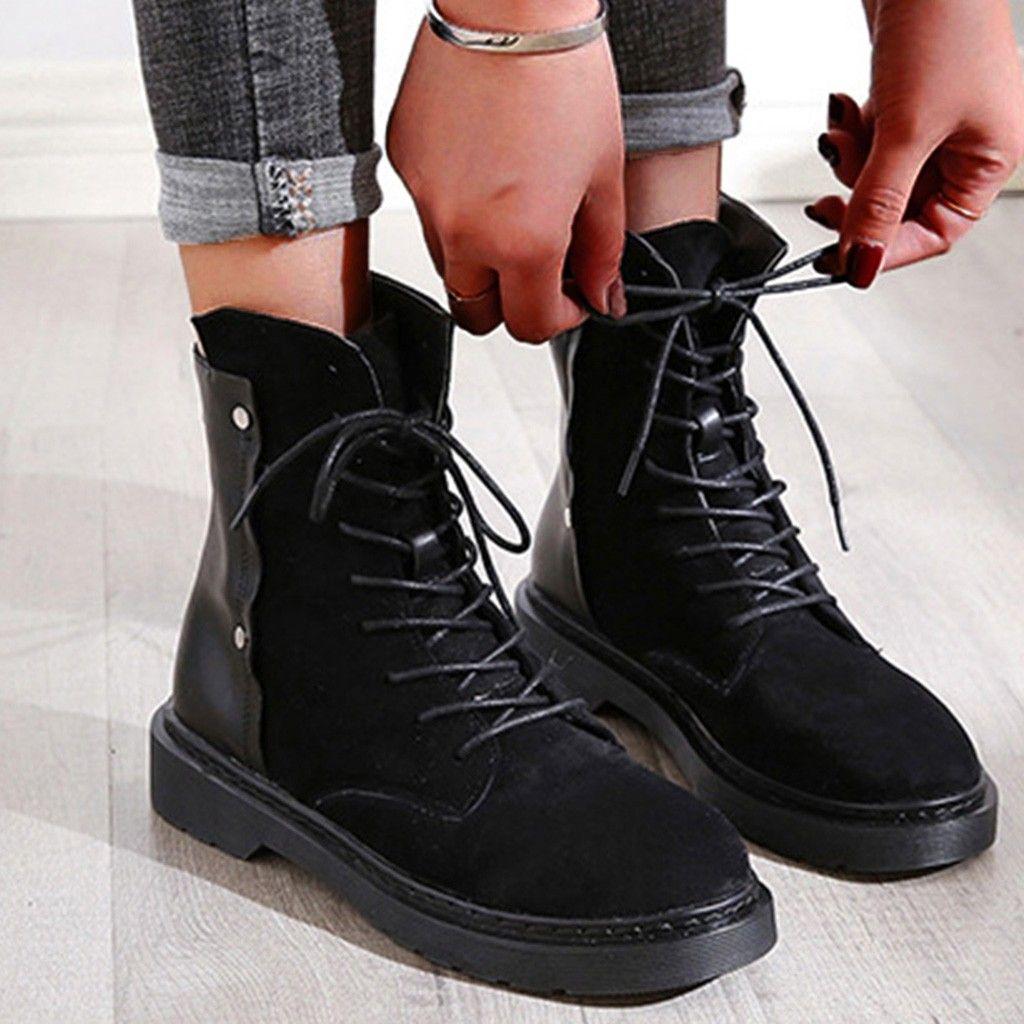 Punk stile patchwork di cuoio di inverno Rivetti Stivali Donne Med Lace Up piattaforme stivaletti alla caviglia Scarpe freddi zapatos de Mujer
