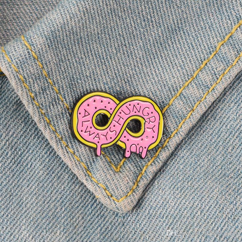 Infinity Donut Pins Pink Dounts Badges Food Cake Brooches Sweets Food Dessert Donut Jewelry for girls