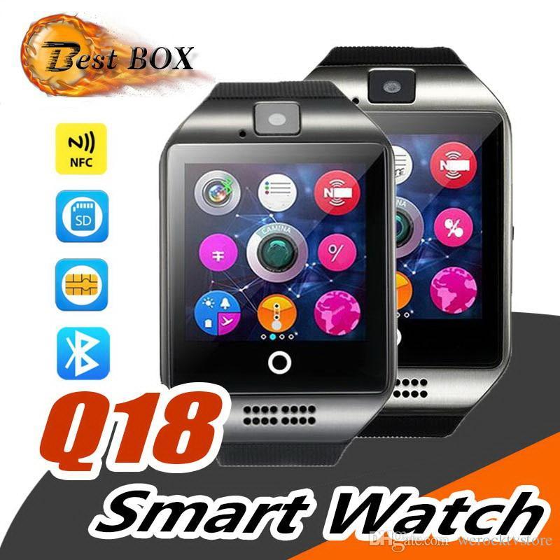 Q18 bluetooth smart watch mit touchscreen große batterie unterstützung tf sim karte kamera für android phone smartwatch pk dz09 gt08 smart watch