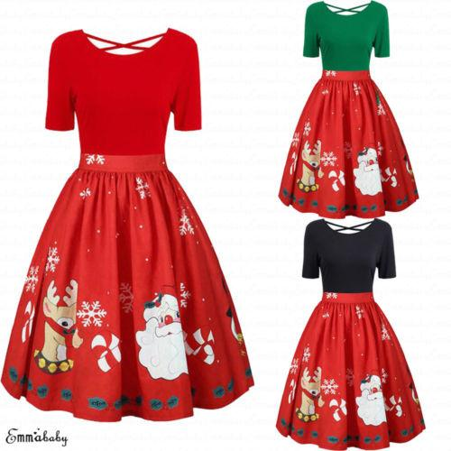 2019 New Xmas Dress Women Girls Vintage High Waist Santa Christmas Dress  Ladies Xmas Swing Skater Retro A Line Pink And White Dresses For Juniors