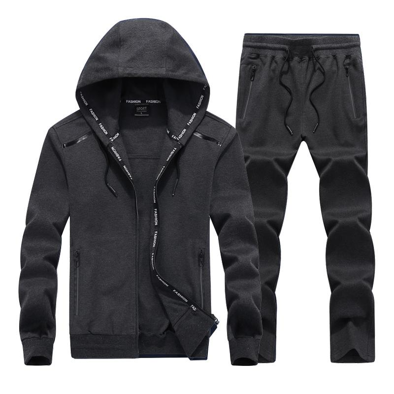 2019 NEW Fashion Spring Autumn Men Sporting Suit Set Hooded Jacket+Pant Sportswear 2 Piece Set Tracksuit For Men Clothes L-9XL