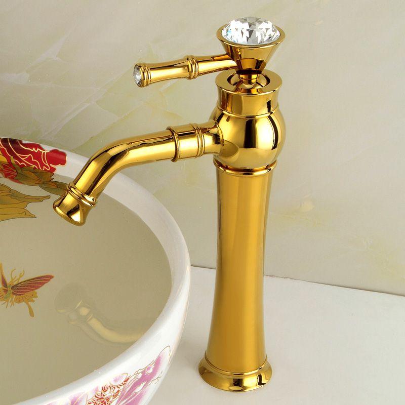 Ücretsiz kargo Mutfak tam bakır altın havza musluk continental heightening kristal seramik vana çekirdek musluk wx5101519