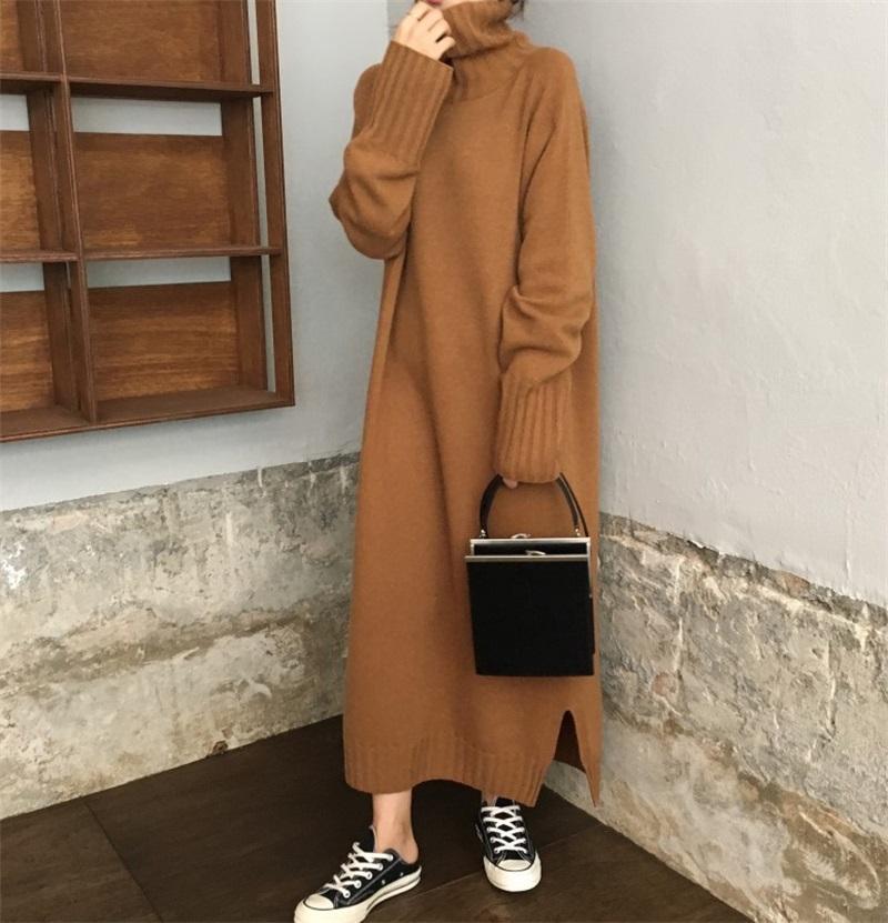 Женские свитеры свитер платье 2021 осень зима женщины водолазки пуловер длинные дамы рукав вязаные повседневные свободные Vestidos