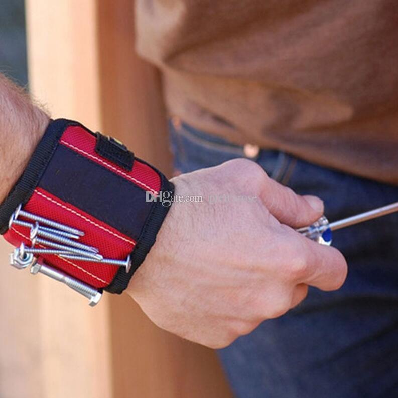 قوية الاسورة المغناطيسية الجيب أداة العملي الفرقة الذراع المعصم أدوات حزام الحقيبة حقيبة حزام مسامير حامل عقد أدوات المغناطيس 10