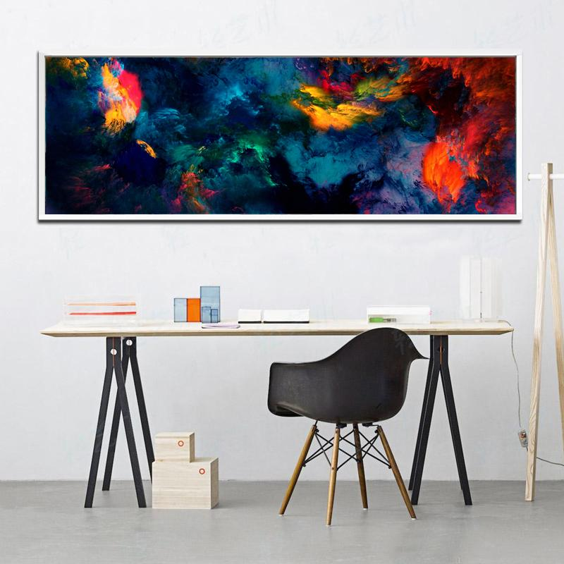 2019 Large Canvas Wall Art Print Abstract Color Storm Art Painting Long Banner Canvas Wall Poster For Home Living Room Wall Decoration From