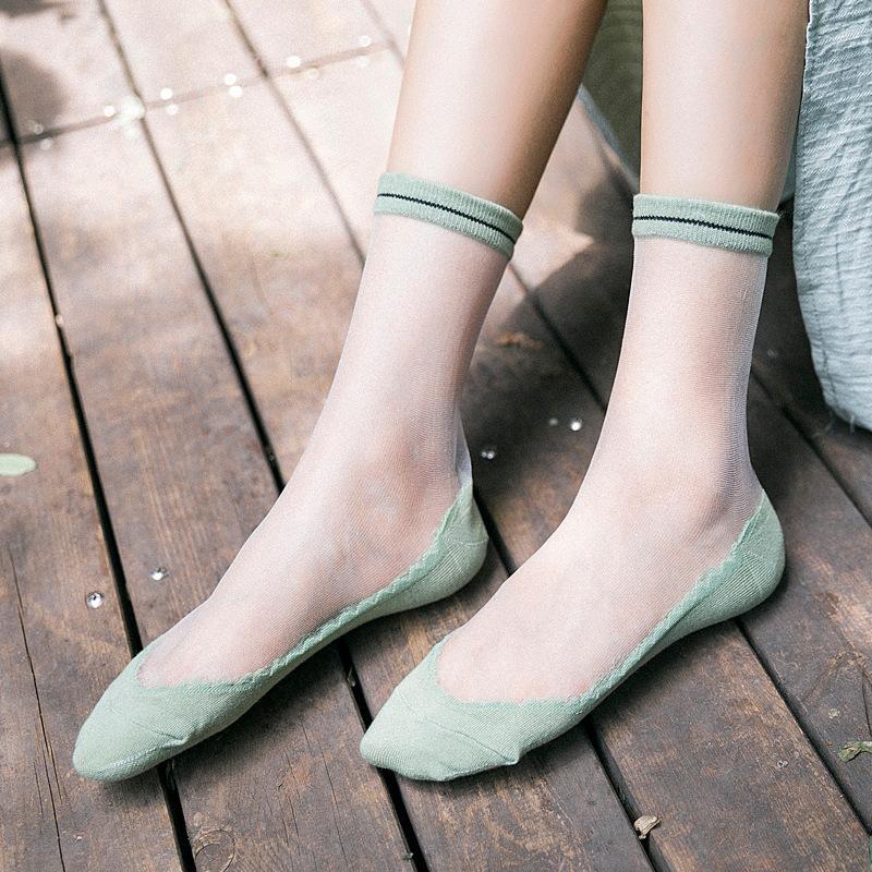 Glitter brillante atractiva del acoplamiento de las mujeres transparentes Sheer calcetín verano de la manera Calcetines corta de las mujeres del caramelo de algodón ocasional linda Calcetines Mujer