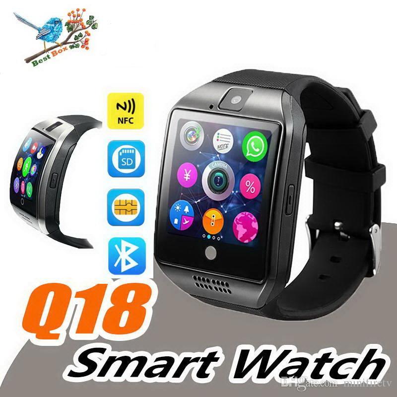 Q18 Montre intelligente Bluetooth Montres intelligentes pour téléphone Android avec appareil photo Q18 Carte TF avec connexion NFC avec emballage de vente au détail