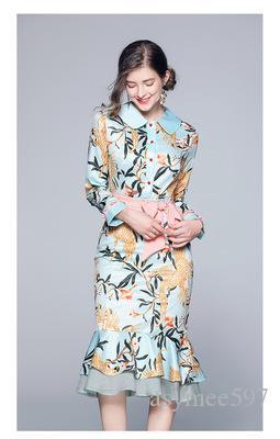 Modische frauen druck und getäfelten trompetenrock, schönheit revers neck bogen dame midi kleider, mode elegante mädchen casual dress