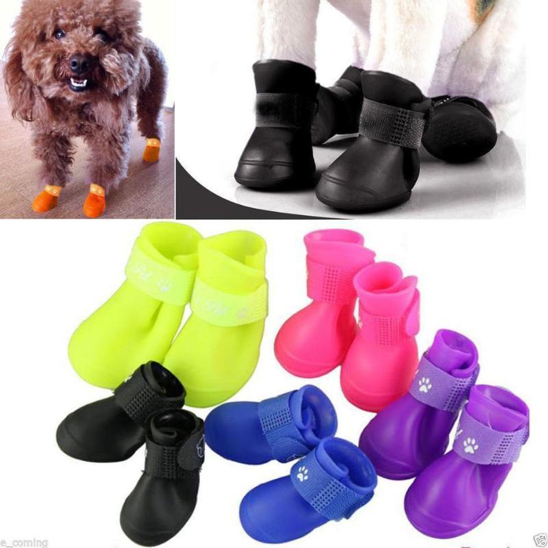 작은 큰 개 신발 2020 최신 핫 패션 귀여운 애완 동물 물 증거 레인 슈즈 부츠 양말 미끄럼 방지 고무 부트