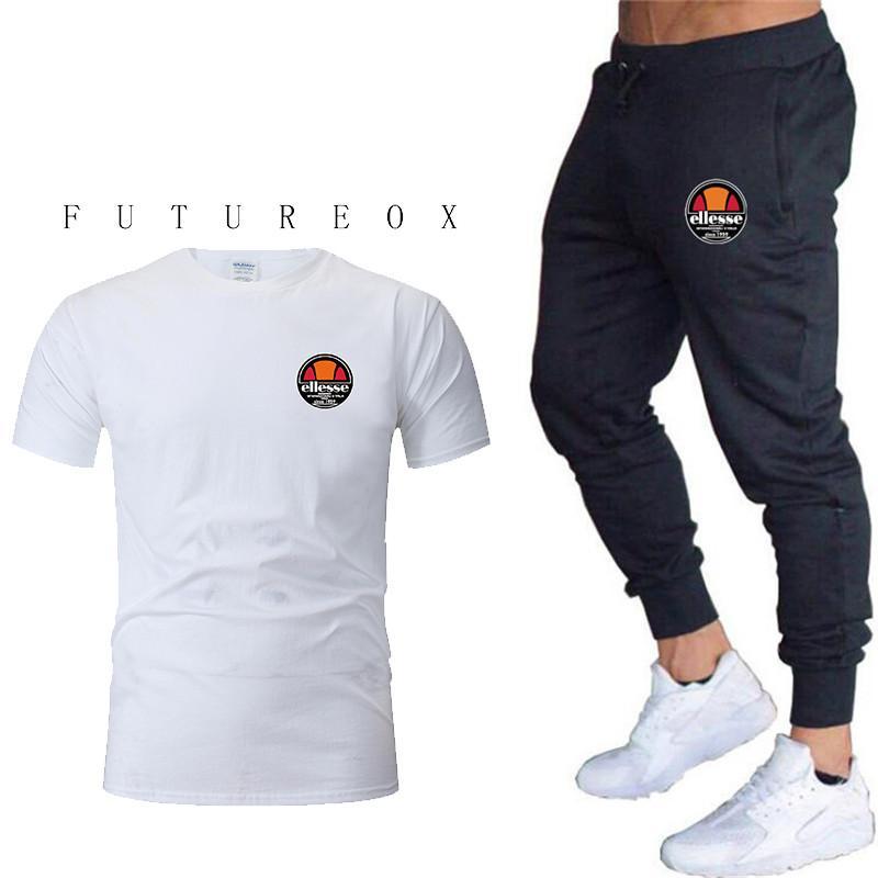 Venta caliente del verano Conjuntos de los hombres Camisetas + pantalones Conjuntos de Dos Piezas Casual Chándal Hombre 2019 Camiseta Casual Gimnasios Pantalones de fitness hombres